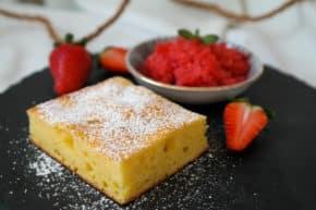 Ricottakuchen mit Erdbeer-Granita